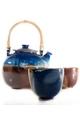 Poterie des Chaumes : 2 petits bols à thé devant la théière