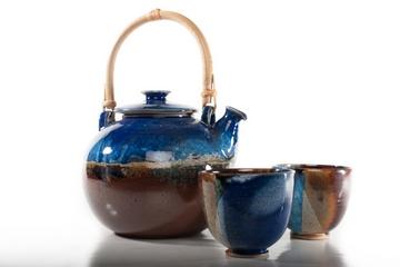 théière et 2 petits bols de la poterie des Chaumes